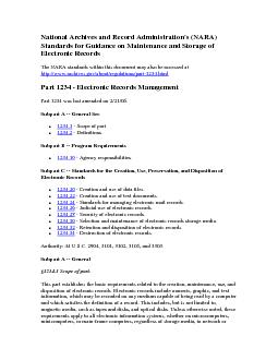 National Archives and Record Administration's (NARA) Standards for Gui
