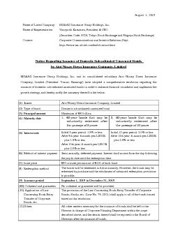 Notice Regarding Issuance of Domestic Subordinated Unsecured Bonds   .