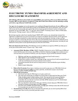 ELECTRONIC FUNDS TRANSFER AGREEMENT AND DISCLOSURE STATEMENTThe follow