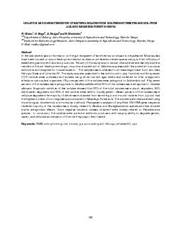 ISOLATION AND CHARACTERIZATION OF BACTERIA ISOLATES FROM SOIL FEEDING