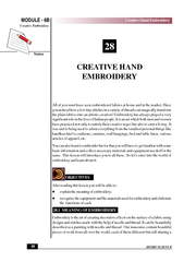 HOME SCIENCE Notes Creative Hand Embroidery Creative E