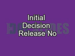 Initial Decision Release No