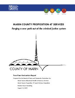 MARIN COUNTY PROPOSITION 47 SERVICES