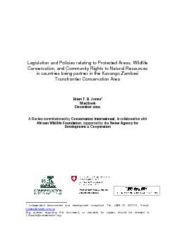Legislation and Policies relating to Protected Areas, Wildlife Conserv