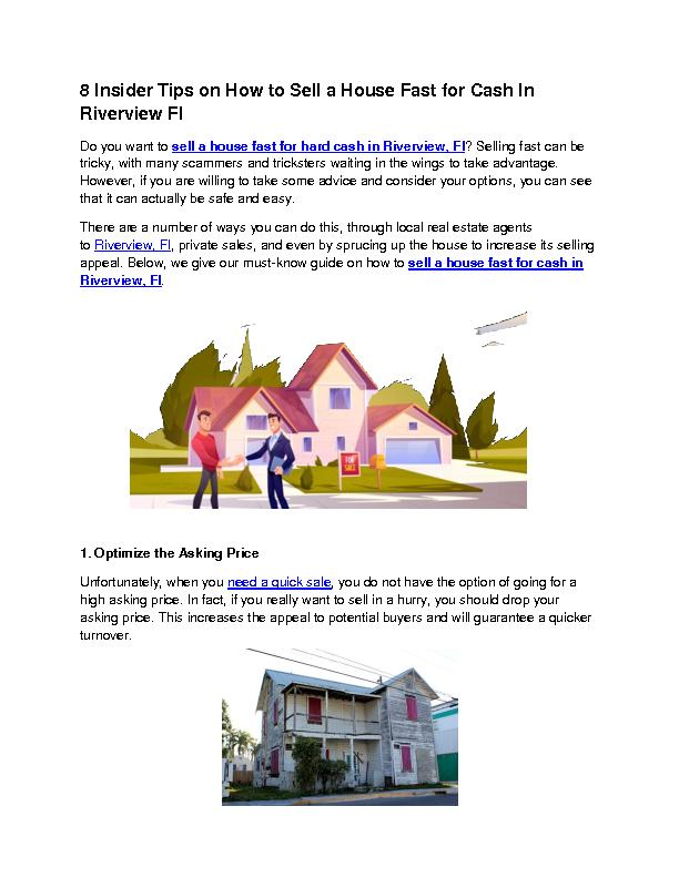 8 Insider Tips on How to Sell a House Fast for Cash In Riverview Fl