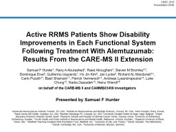 Active RRMS Patients Show Disability Improvements in Each Functional System Following Treatment Wit