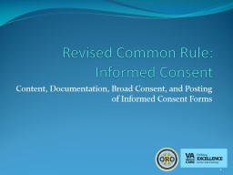 Revised Common Rule: Informed Consent