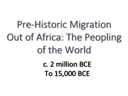 Pre-Historic Migration Out of Africa: The Peopling of the World