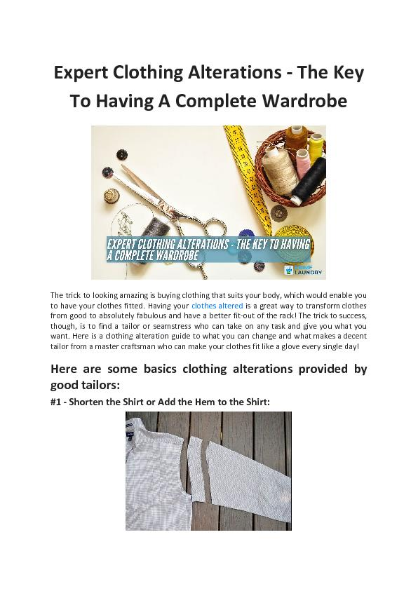 Expert Clothing Alterations - The Key To Having A Complete Wardrobe