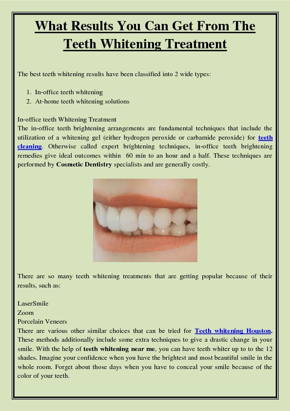 What Results You Can Get From The Teeth Whitening Treatment