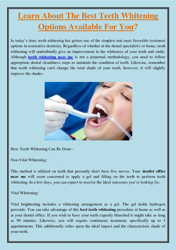 Learn About The Best Teeth Whitening Options Available For You?