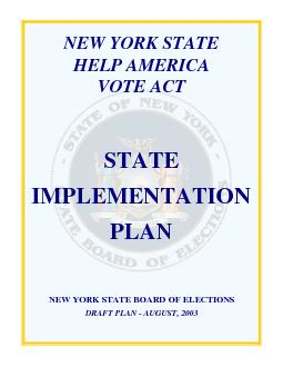 NEW YORK STATE HELP AMERICA VOTE ACT STATE IMPLEMENTATION PLAN NEW YOR