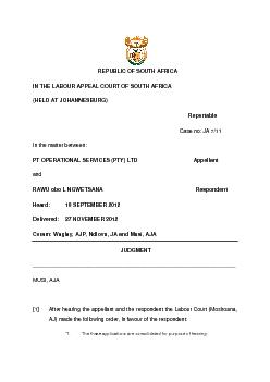 REPUBLIC OF SOUTH AFRICA IN THE LABOUR APPEAL COURT OF SOUTH AFRICA  (