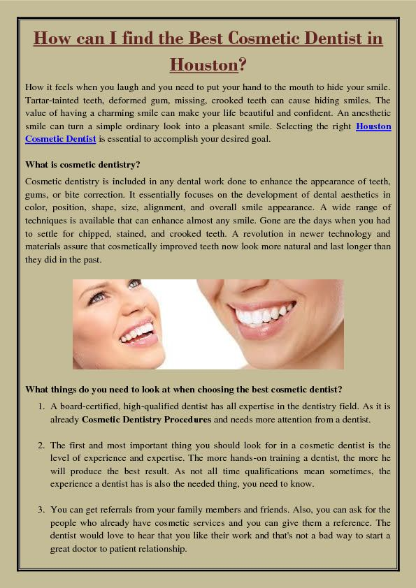 How can I find the Best Cosmetic Dentist in Houston?