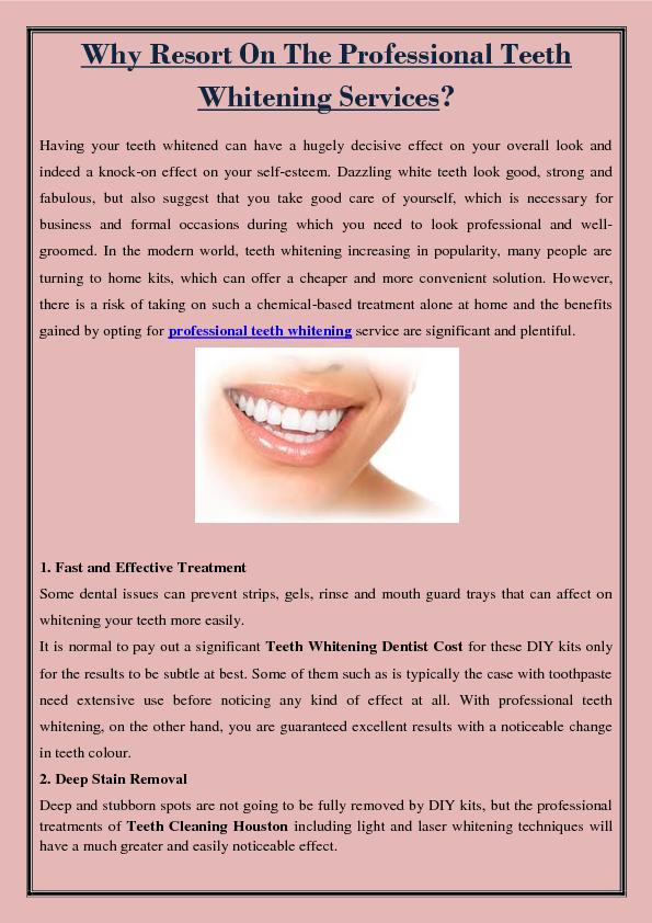 Why Resort On The Professional Teeth Whitening Services?