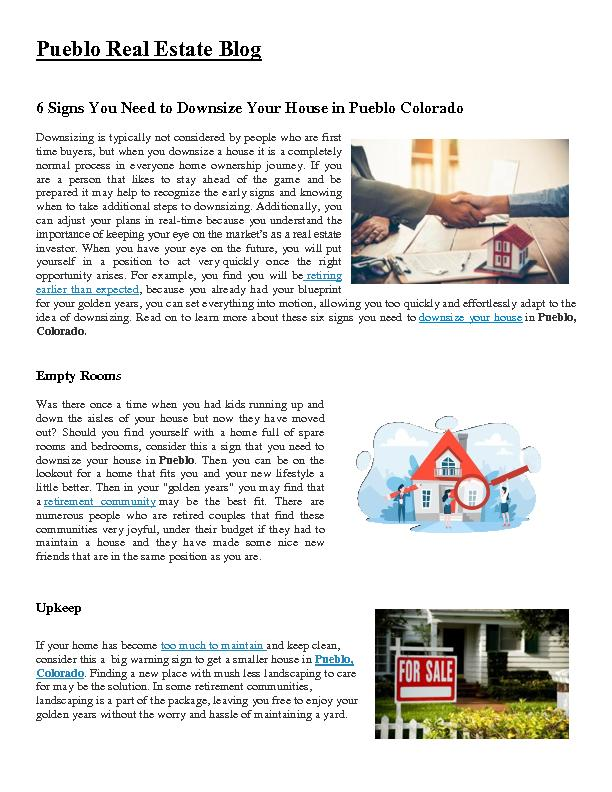 6 Signs You Need to Downsize Your House in Pueblo Colorado