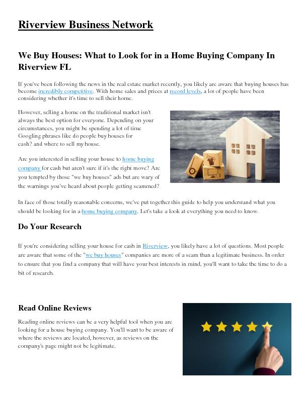 We Buy Houses: What To Look for in a Home Buying Company In Riverview Fl