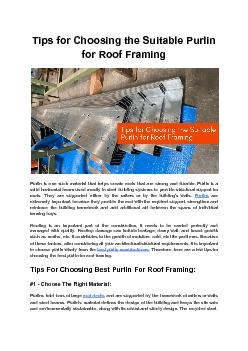 Tips for Choosing the Suitable Purlin for Roof Framing - Bansal Roofing