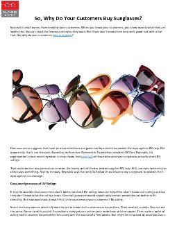 So, Why Do Your Customers Buy Sunglasses?