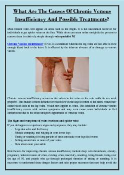 What Are The Causes Of Chronic Venous Insufficiency And Possible Treatments?