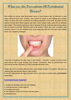 What are the Preventions Of Periodontal Disease?