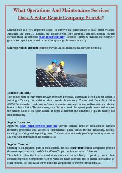 What Operations And Maintenance Services Does A Solar Repair Company Provide?