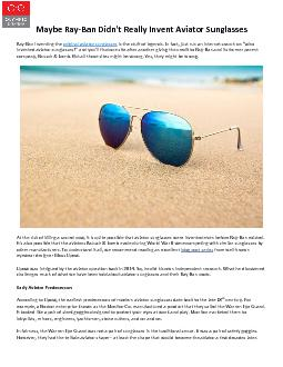 Maybe Ray-Ban Didn\'t Really Invent Aviator Sunglasses