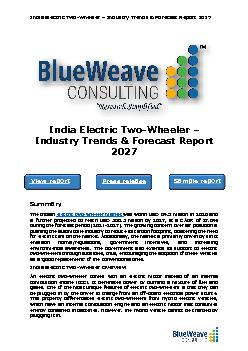 India Electric Two-Wheeler – Industry Trends & Forecast Report 2027
