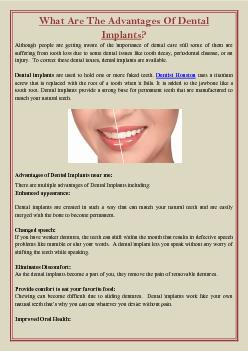 What Are The Advantages Of Dental Implants?