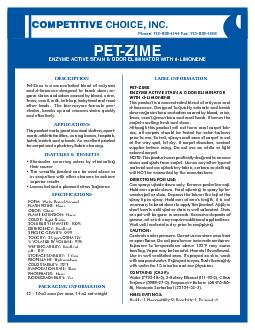 CHOICE INCPETZIMEENZYME ACTIVE STAIN  ODOR ELIMINATOR WITH dLIMON