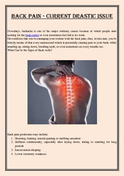Back Pain - Current Drastic Issue