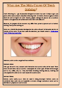 What Are The Main Causes Of Teeth Staining?