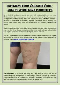 Suffering From Varicose Veins - Need to Avoid Some Foodstuffs