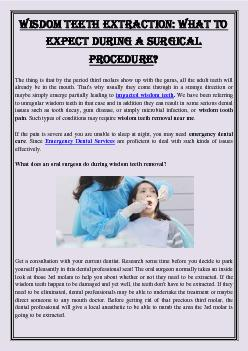 Wisdom Teeth Extraction: What To Expect During A Surgical Procedure?