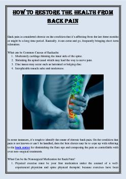 How to Restore the Health from Back Pain