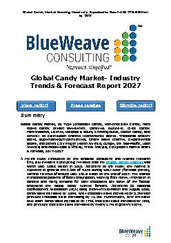 Global Candy Market- Industry Trends & Forecast Report 2027