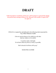 DRAFT Following draft of constitution and bylaws will