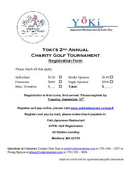 Please see reverse side for registration and golfer information