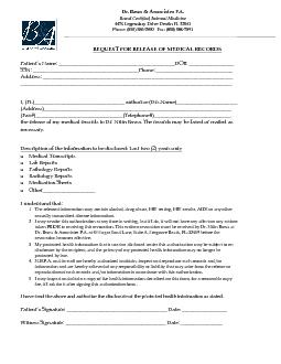 REQUEST FOR RELEASE OF MEDICAL RECORDS