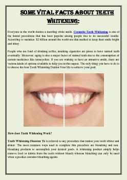 Some Vital Facts About Teeth Whitening: