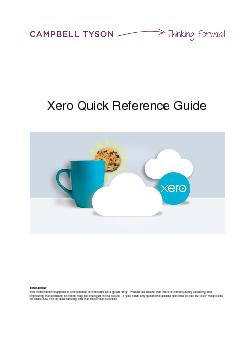Xero Quick Reference Guide