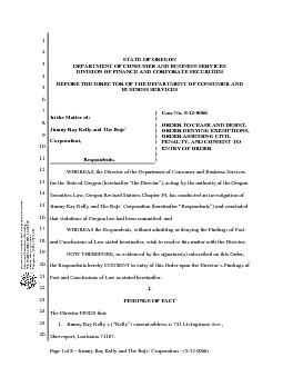 Page 1 of 8  Jimmy Ray Kelly and The Roje Corporation  S120066