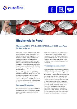 BisphenolMigration of BPA BPF BADGE BFDGE and NOGE fromood ontact a