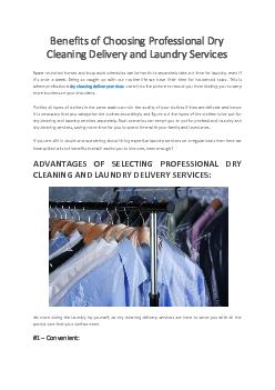 Benefits of Choosing Professional Dry Cleaning Delivery and Laundry Services - Hello Laundry