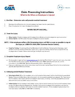 Claim Processing InstructionsWhat to Do When an Employee Is Injured1