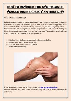 How To Reverse The Symptoms Of Venous Insufficiency Naturally?
