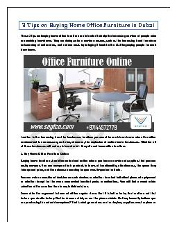 3 Tips on Buying Home Office Furniture in Dubai