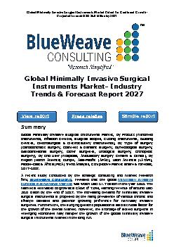 Global Minimally Invasive Surgical Instruments Market- Industry Trends & Forecast Report 2027