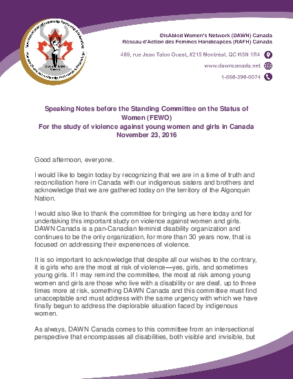 Speaking Notes before the Standing Committee on the Status of
