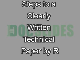 Fourteen Steps to a Clearly Written Technical Paper by R